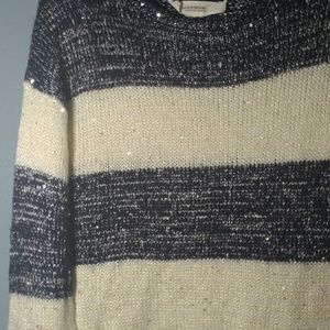 Andrea Jovine Striped Sequin Sweater